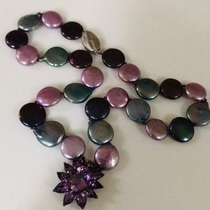 Starburst Amethyst Strand of Coin Pearl Necklace